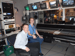 Audio Control Room at The Lyndon B. Johnson Space Center in Houston. From left: Christopher Westerlund President Westerlund Consulting and Beth Weissinger NASA-JSC Audio Control Room