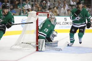 Anders Lindback in the goal with John Klingberg (3) on his right. Photo Source: Dallas Stars