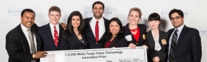 Julia and the other founders of Wavve Stream winning the Wells Fargo Clean Technology Innovation Prize.